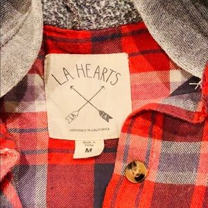 PAcSun LA Hearts long sleeve flannel hoodie